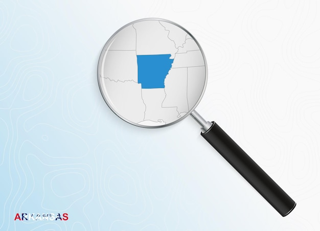 Magnifier with map of arkansas on abstract topographic background