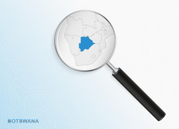 Magnifier with map of botswana on abstract topographic background.