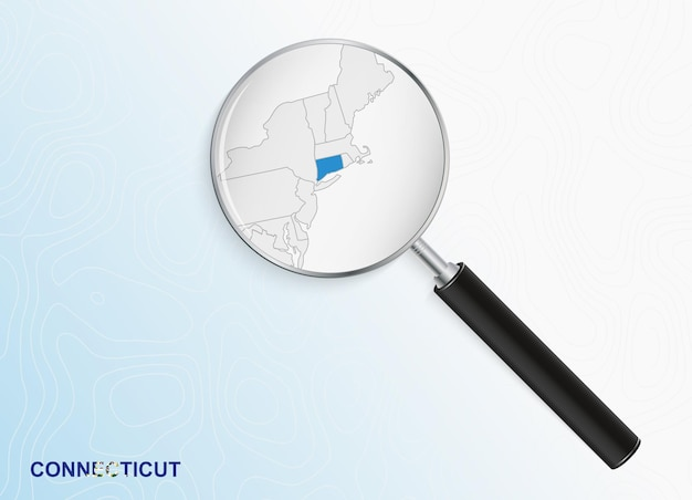 Magnifier with map of connecticut on abstract topographic background