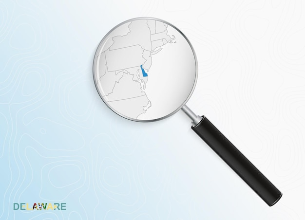 Magnifier with map of delaware on abstract topographic background.