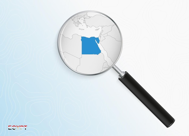 Magnifier with map of egypt on abstract topographic background.