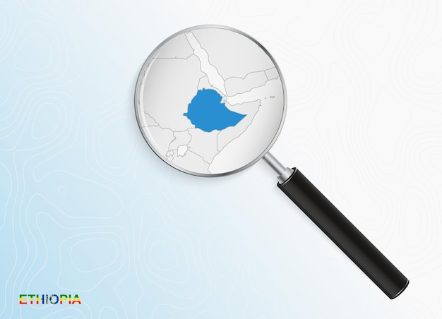Magnifier with map of ethiopia on abstract topographic background.