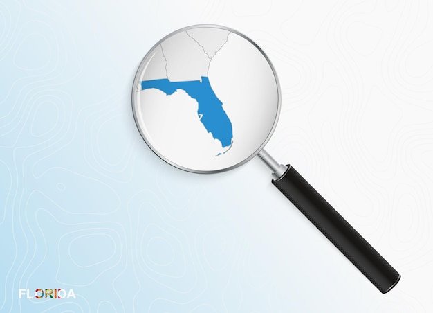 Magnifier with map of florida on abstract topographic background