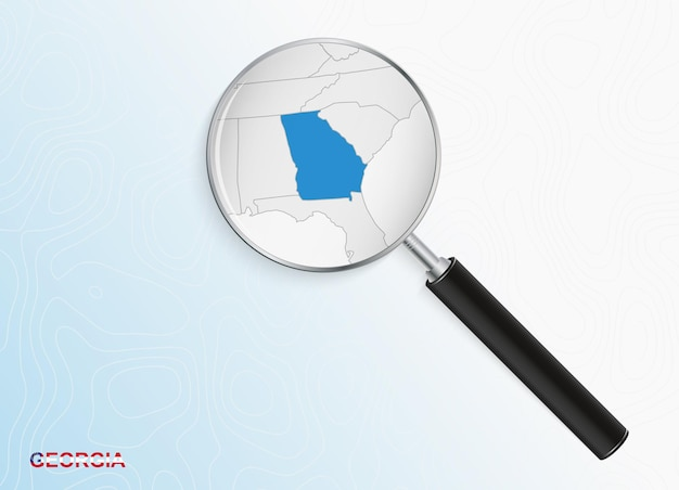 Magnifier with map of georgia on abstract topographic background.