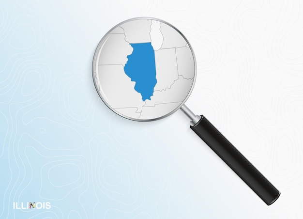 Magnifier with map of illinois on abstract topographic background.