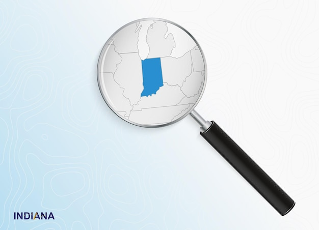 Magnifier with map of indiana on abstract topographic background