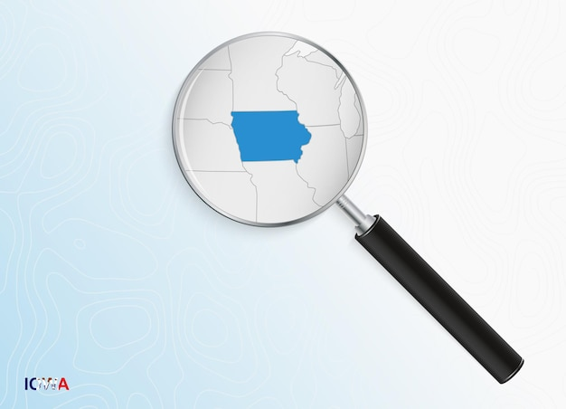 Magnifier with map of iowa on abstract topographic background