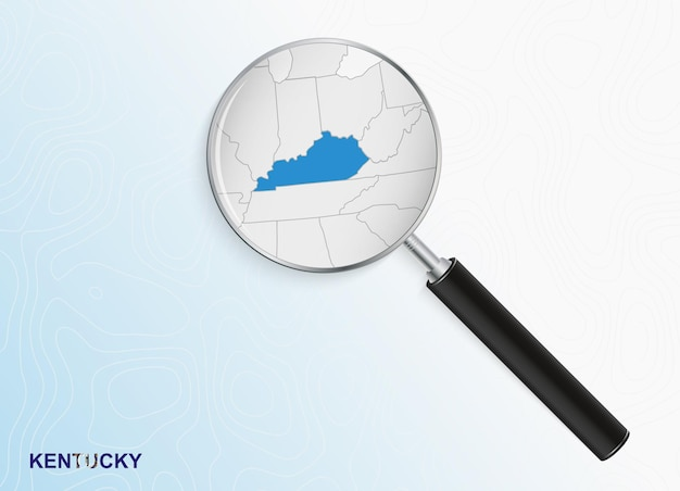 Magnifier with map of kentucky on abstract topographic background.