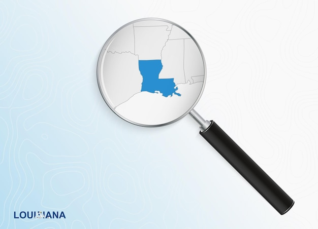 Magnifier with map of louisiana on abstract topographic background