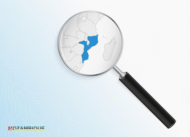 Magnifier with map of mozambique on abstract topographic background