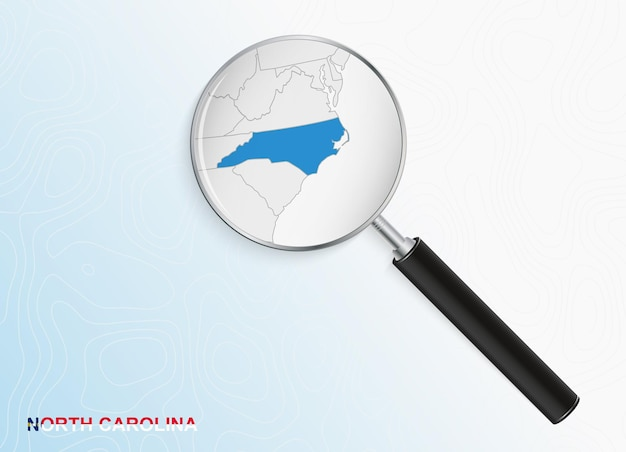 Magnifier with map of north carolina on abstract topographic background.