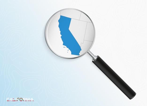 Лупа с картой калифорнии на абстрактном топографическом фоне