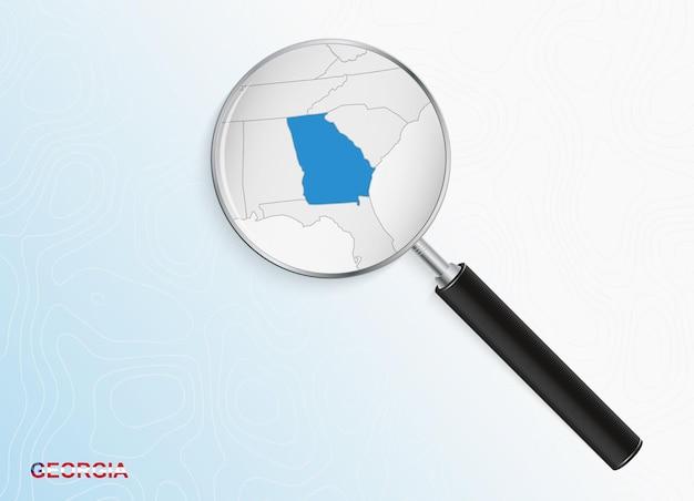 추상적인 지형 배경에 조지아의 지도와 돋보기.