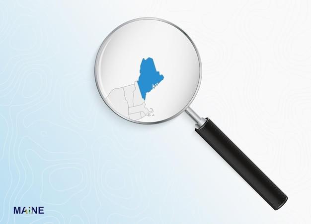 Лупа с картой штата мэн на абстрактном топографическом фоне