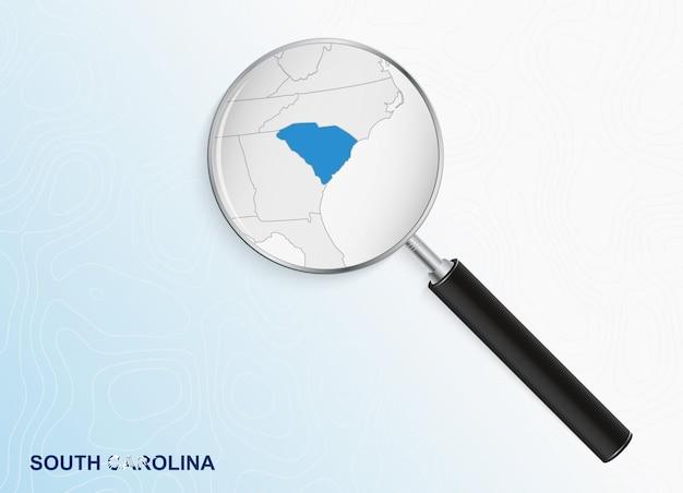 抽象的な地形の背景にサウスカロライナ州の地図と拡大鏡