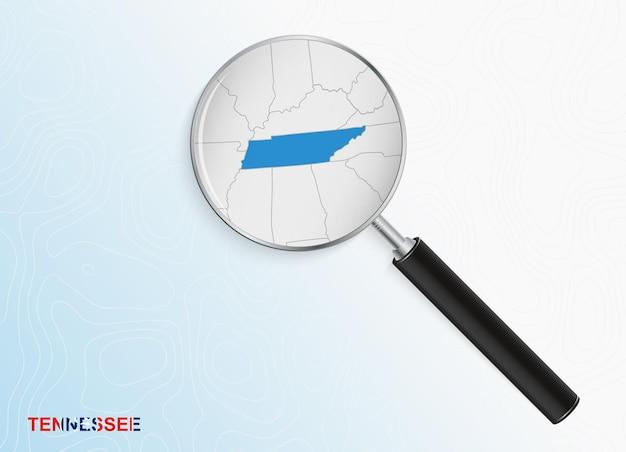 抽象的な地形の背景にテネシー州の地図と拡大鏡