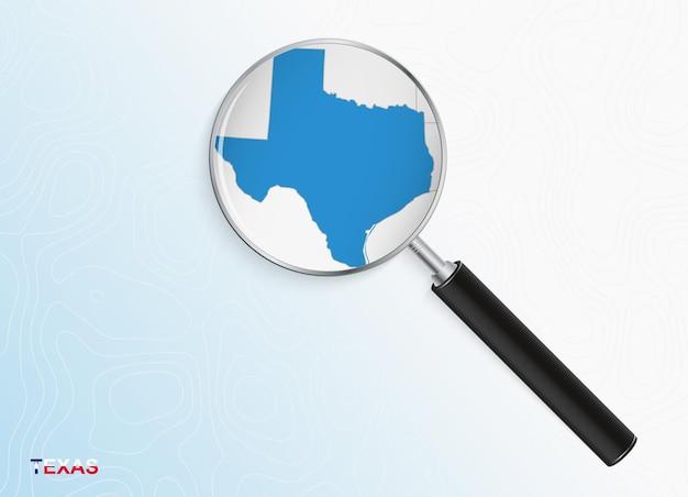 抽象的な地形の背景にテキサスの地図と拡大鏡