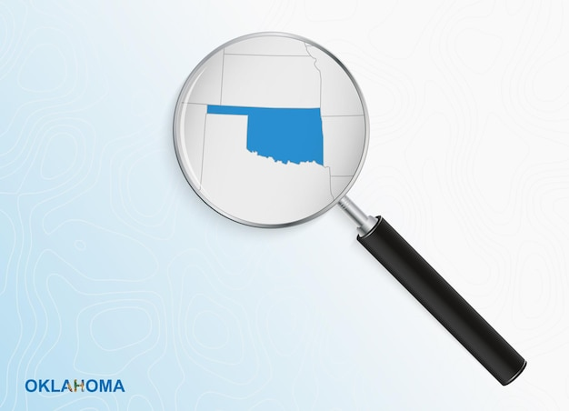 Magnifier with map of oklahoma on abstract topographic background