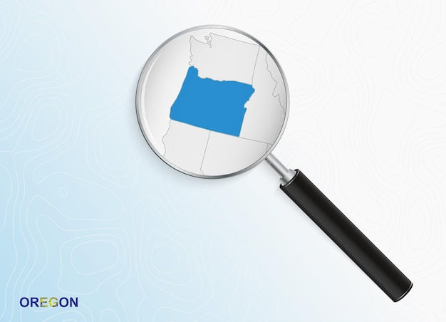 Magnifier with map of oregon on abstract topographic background.
