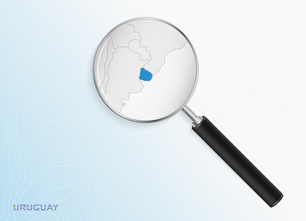 Magnifier with map of uruguay on abstract topographic background.