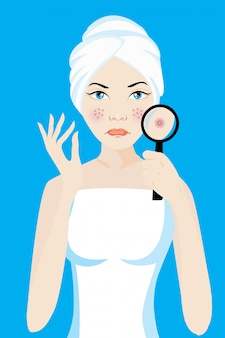 A magnifier on the woman facial to finding acne