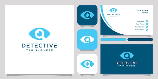 Magnifying eye or detective symbol template, logo and business card.