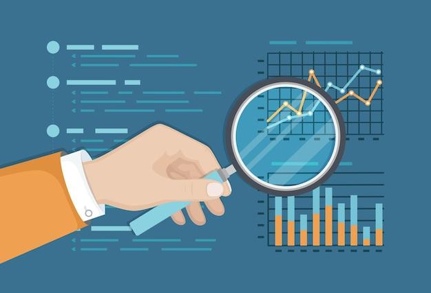 재무 그래프, 사업 보고서 위에 돋보기. 분석 차트. 돋보기와 손.