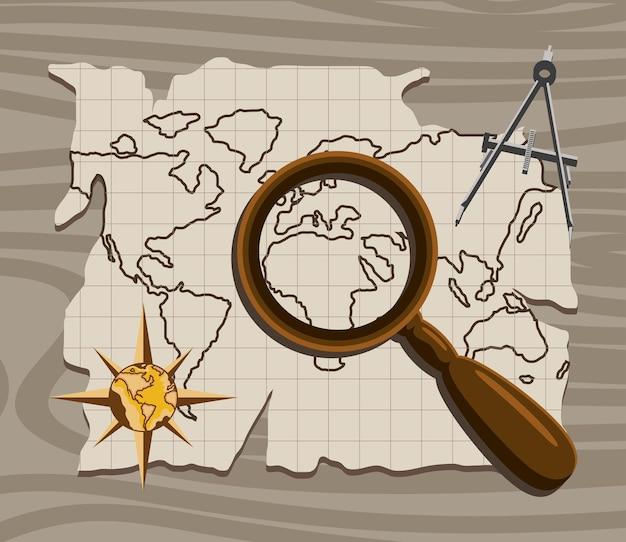 虫眼鏡と世界地図