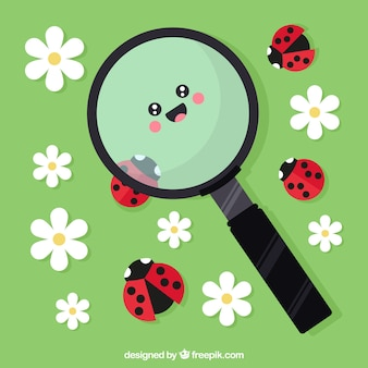 Magnifying glass background looking ladybugs in flat style