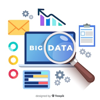 Magnifying glass big data background