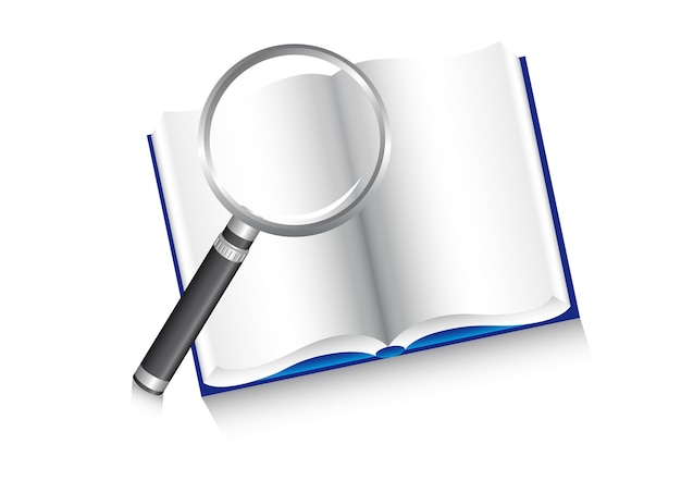 Magnifying glass over book search vector illustration