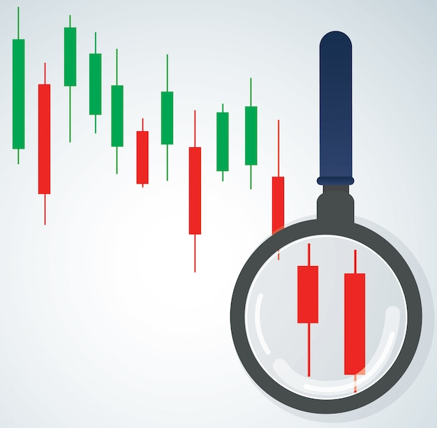 The magnifying glass and candlestick chart