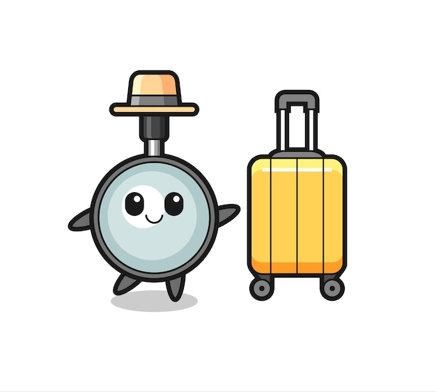 Magnifying glass cartoon illustration with luggage on vacation , cute style design for t shirt, sticker, logo element