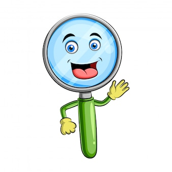 Magnifying glass character design or magnifying glass mascot