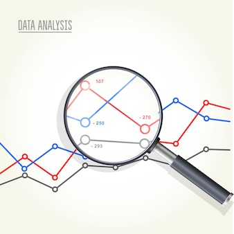 Magnifying glass over charts - data statisics research, stock market analytics