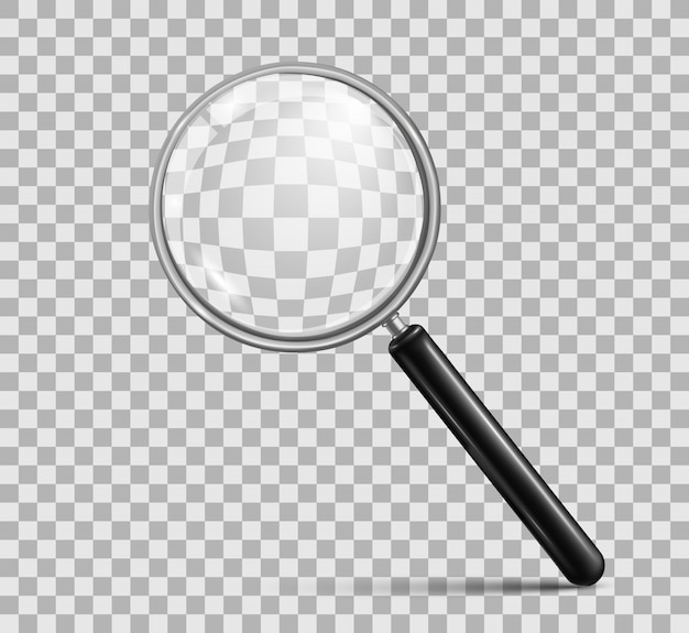 Magnifying glass on checkered background