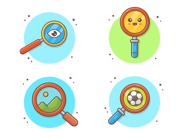 Magnifying glass collection icon illustration