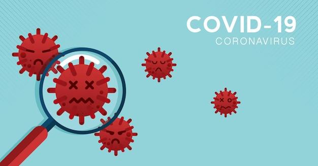 虫眼鏡covid19コロナウイルスの概念の発生インフルエンザの背景パンデミック医療の健康