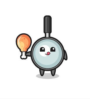Magnifying glass cute mascot is eating a fried chicken , cute style design for t shirt, sticker, logo element