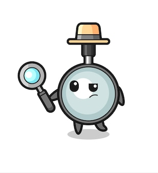 Magnifying glass detective character is analyzing a case , cute style design for t shirt, sticker, logo element