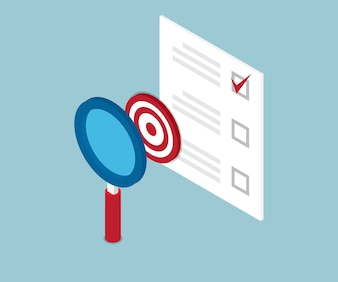 Magnifying glass finding target and check list form
