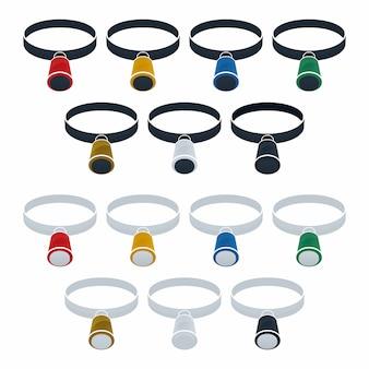 Magnifying glass flat icon set