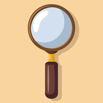 Magnifying glass flat style. loupe, zoom lens
