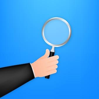 Рука увеличительного стекла для веб-дизайна фона. значок увеличительного стекла. векторная иллюстрация штока