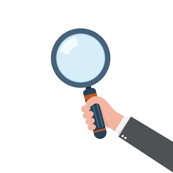 Magnifying glass in the hand.  illustration.