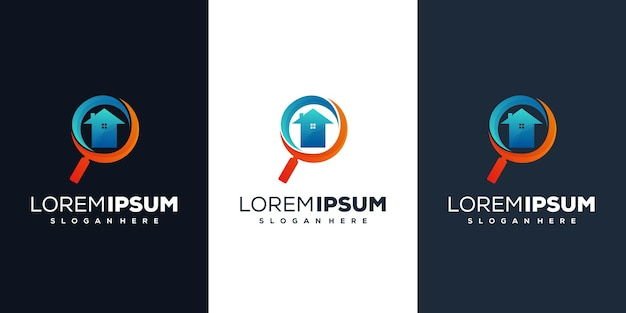 Magnifying glass house logo design