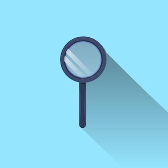 Значок увеличительного стекла с длинной тенью на синем фоне