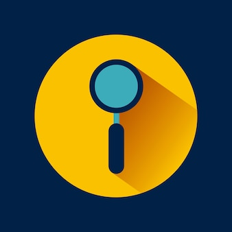 Magnifying glass icon over yellow circle and blue background.