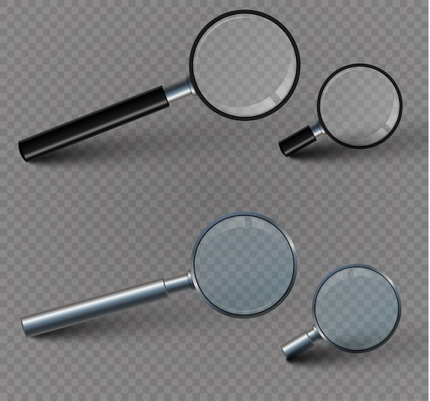 Magnifying glass isolated on a transparent background.set.