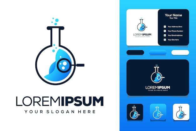 Magnifying glass lab icon logo design
